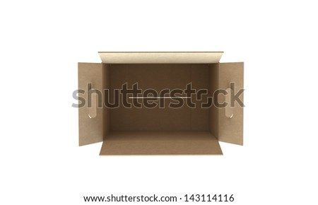 cardboard box open isolated on white - stock photo