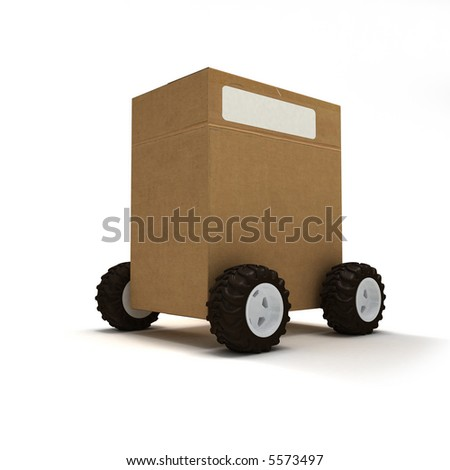 Cardboard box package on wheels - stock photo