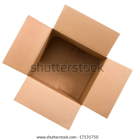 cardboard box top view - stock photo