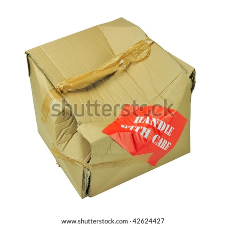 cardboard box which has been damaged in transit isolated with clipping path - stock photo