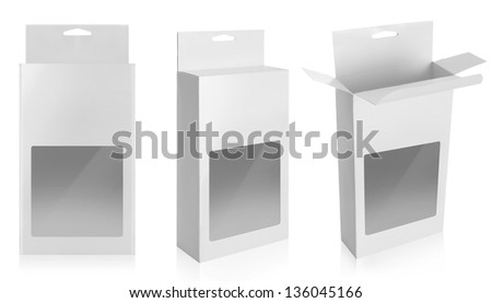 cardboard box with a transparent plastic window isolated over white background - stock photo