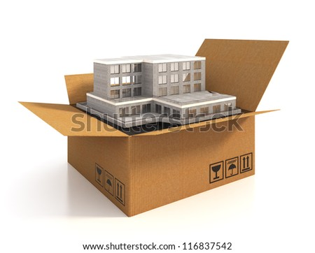 Cardboard box with building - stock photo