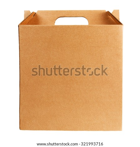 Cardboard box with handle isolated on white  - stock photo