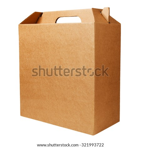 Cardboard box with handle isolated on white background - stock photo