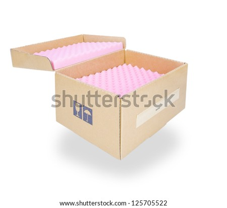 Cardboard box with lid open shot - stock photo