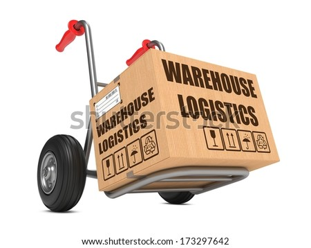 Cardboard Box with Warehouse Logistics Slogan on Hand Truck White Background. - stock photo