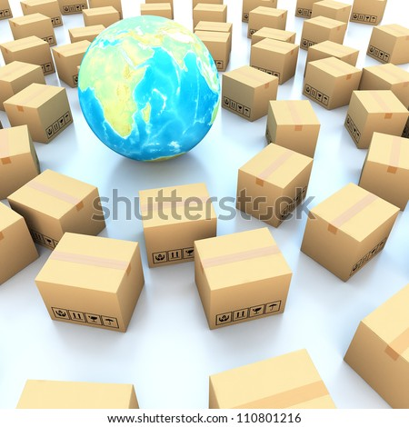 Cardboard boxes and global on white background 3d illustration - stock photo