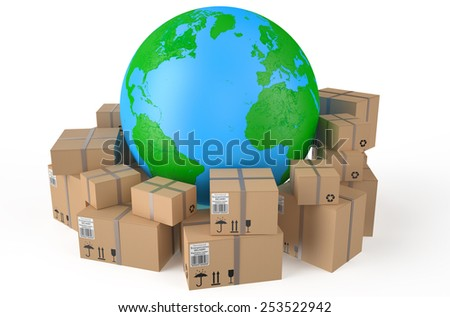 Cardboard boxes around  Earth globe   isolated on white background - stock photo