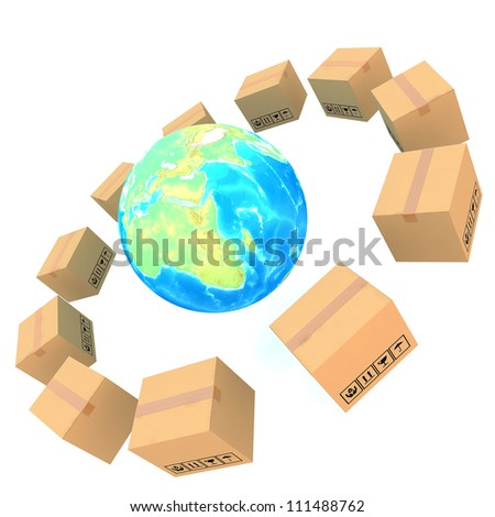 Cardboard boxes around global on white background 3d illustration (Elements of this image furnished by NASA) - stock photo