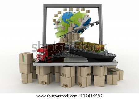 Cardboard boxes around globe on laptop screen, cargo ship, truck and plane. Concept of online goods orders worldwide - stock photo