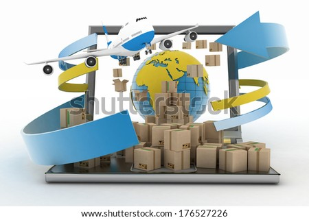 Cardboard boxes around the globe on a laptop screen and airplane. Concept of online goods orders worldwide - stock photo