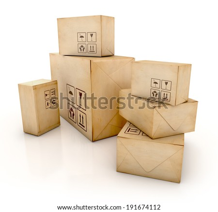 Cardboard boxes. Delivery concept. 3D Iillustration isolated on white background - stock photo