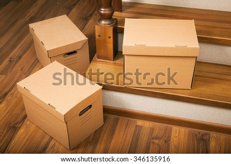 Cardboard boxes. Delivery. Moving house. - stock photo