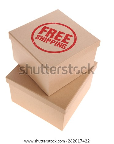 Cardboard Boxes - Free Shipping stamp - stock photo