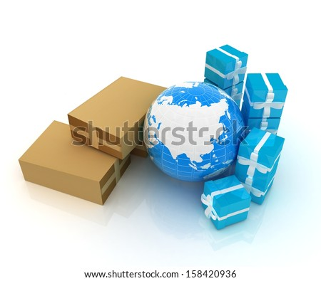 Cardboard boxes, gifts and earth on a white background
