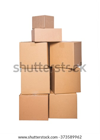 Cardboard boxes isolated on a white background. - stock photo