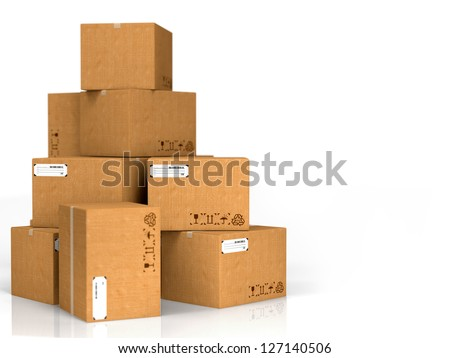 Cardboard Boxes Isolated on White Background. - stock photo