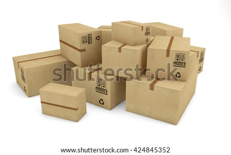 Cardboard boxes isolated on white background with clipping path. 3d rendering - stock photo