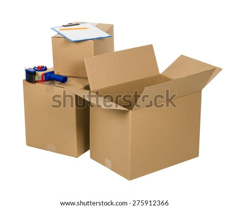 Cardboard boxes isolated on white background with tape and blank paper - stock photo