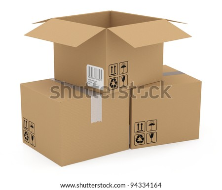 Cardboard boxes isolated on white. 3D model - stock photo