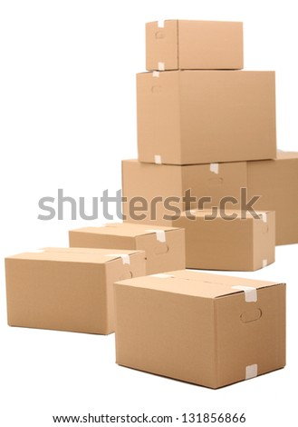 Cardboard boxes isolated over white background - stock photo