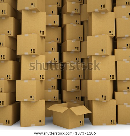 Cardboard boxes. Isolated render on a white background - stock photo