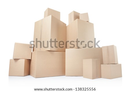 Cardboard boxes, low angle view isolated on white, clipping path - stock photo