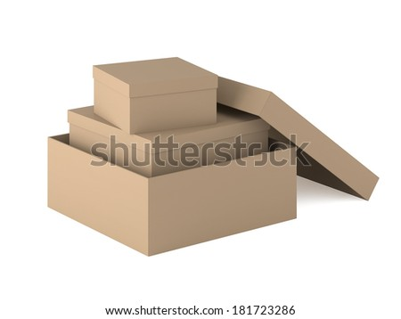 Cardboard boxes nested one inside the other on white background