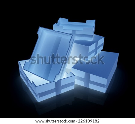 Cardboard boxes on a black background