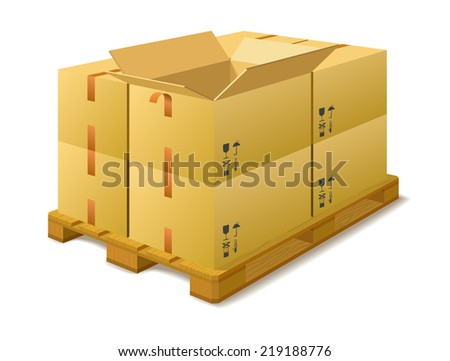 Cardboard boxes on a pallet in a warehouse on a white background (raster version). - stock photo