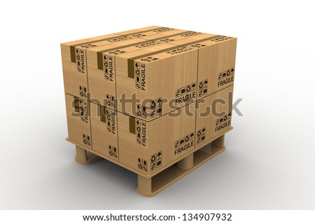 Cardboard boxes on a pallet. Isolated on white background - stock photo