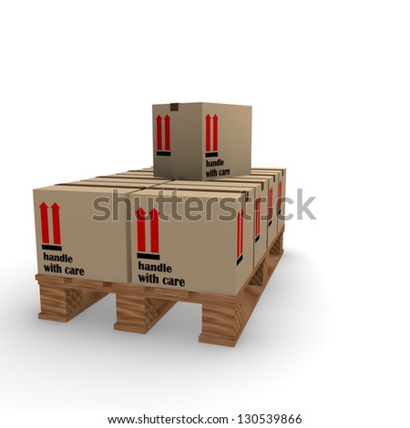 Cardboard boxes on a wooden pallet - stock photo