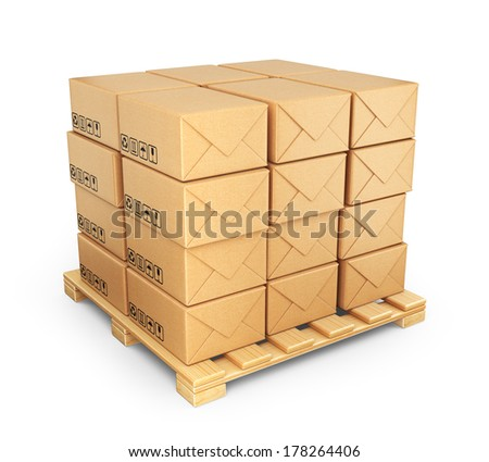 Cardboard boxes on palette. Deliver concept. 3D Icon isolated  - stock photo