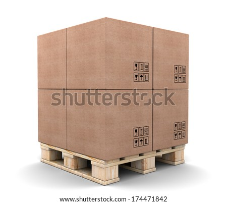Cardboard boxes on pallet isolated on white background. - stock photo