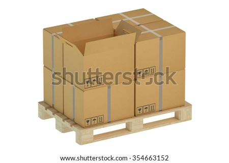 Cardboard boxes on pallet isolated on white background - stock photo