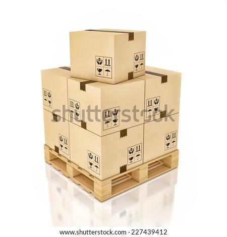 Cardboard boxes on wooden palette , 3d illustration - stock photo