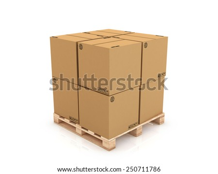 cardboard boxes on wooden pallet 3d illustration, isolated on white background - stock photo