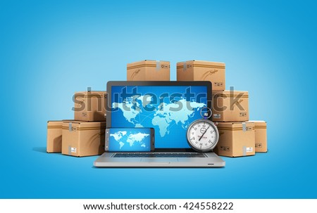 cardboard boxes package parcels and laptop - Logistic, cargo, delivery, and shipping concept 3D rendering on gradient backgrownd - stock photo