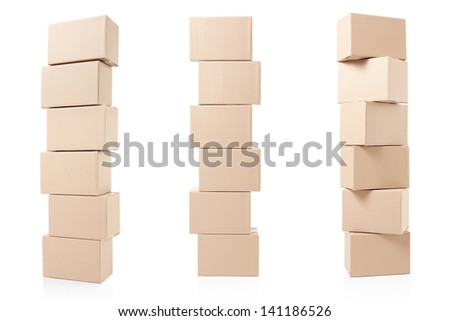 Cardboard boxes pile on white, clipping path included - stock photo