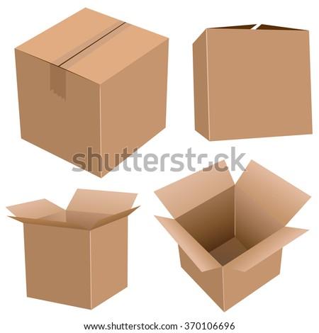 Cardboard boxes set  isolated on white background. - stock photo