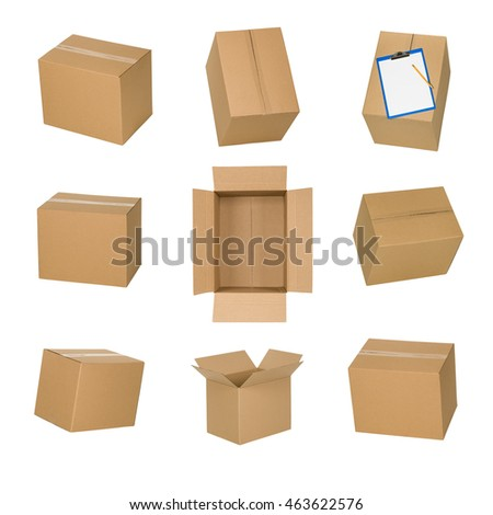 Cardboard boxes set isolated on white background.