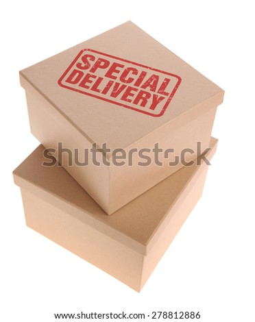 Cardboard Boxes - Special delivery - stock photo