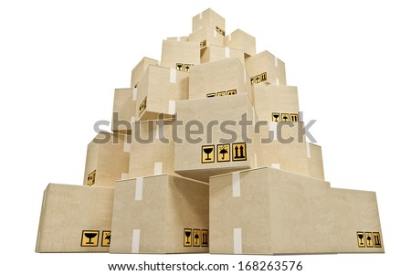 Cardboard boxes stacked in a pyramid - stock photo