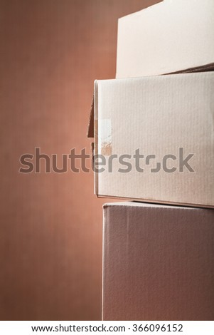 cardboard boxes used, open and unpack shipments - stock photo