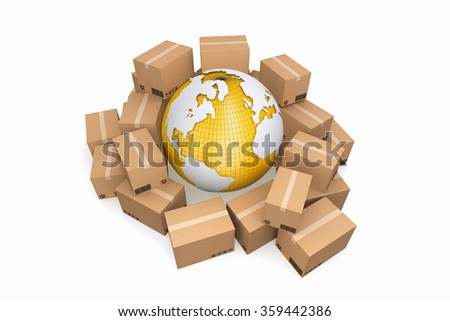 Cardboard boxes with clipping path. Cargo, delivery and transportation logistics storage. - stock photo