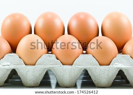 Cardboard egg box with  eggs  on white - stock photo