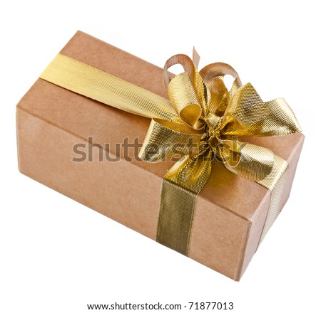 cardboard gift box with gold bow - stock photo