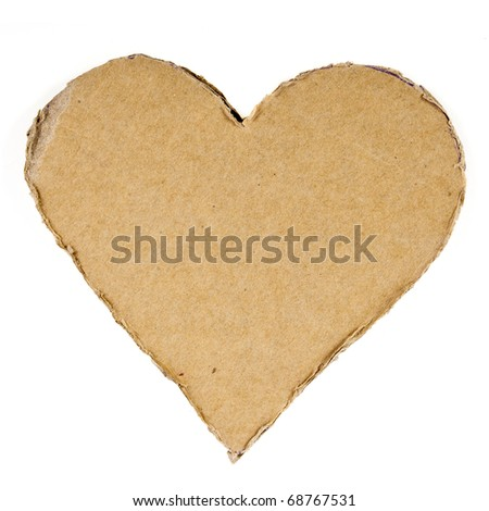 cardboard heart  isolated on white - stock photo