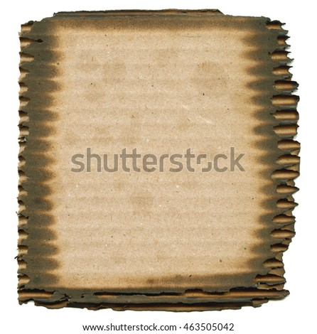 cardboard label with burnt edges