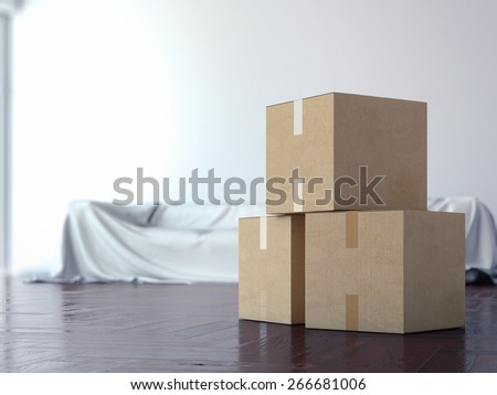 Cardboard moving boxes in interior. 3d rendering - stock photo